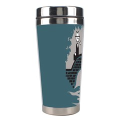 Man And Black Cat Stainless Steel Travel Tumblers by AnjaniArt