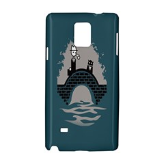 Man And Black Cat Samsung Galaxy Note 4 Hardshell Case by AnjaniArt