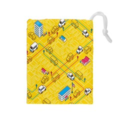 Highway Town Drawstring Pouches (large)  by AnjaniArt