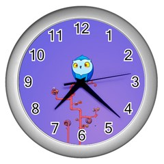 Owl Spider Wall Clocks (silver)  by AnjaniArt