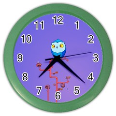 Owl Spider Color Wall Clocks by AnjaniArt