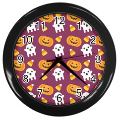 Pumpkin Ghost Canddy Helloween Wall Clocks (black) by AnjaniArt