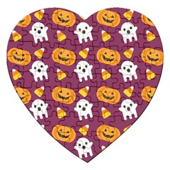 Pumpkin Ghost Canddy Helloween Jigsaw Puzzle (heart)