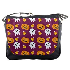 Pumpkin Ghost Canddy Helloween Messenger Bags by AnjaniArt