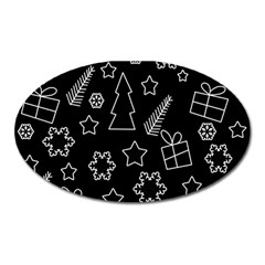 Simple Xmas Pattern Oval Magnet by Valentinaart