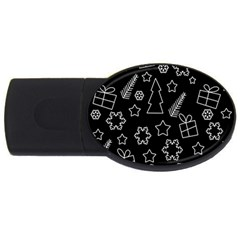 Simple Xmas Pattern Usb Flash Drive Oval (2 Gb)
