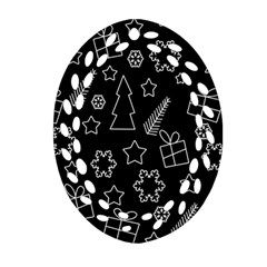 Simple Xmas Pattern Oval Filigree Ornament (2 Side)  by Valentinaart