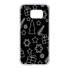 Simple Xmas Pattern Samsung Galaxy S7 Edge White Seamless Case by Valentinaart