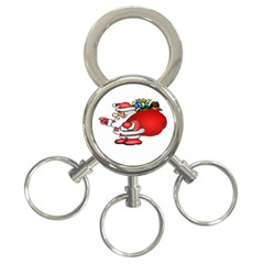 Santa Claus Xmas Christmas 3 Ring Key Chains