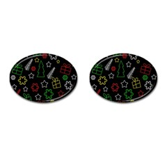 Colorful Xmas Pattern Cufflinks (oval) by Valentinaart