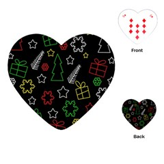 Colorful Xmas Pattern Playing Cards (heart)  by Valentinaart