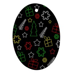 Colorful Xmas Pattern Oval Ornament (two Sides) by Valentinaart