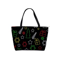 Colorful Xmas Pattern Shoulder Handbags by Valentinaart