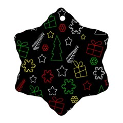 Colorful Xmas Pattern Snowflake Ornament (2 Side) by Valentinaart