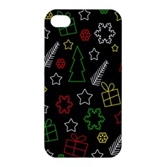 Colorful Xmas Pattern Apple Iphone 4/4s Premium Hardshell Case by Valentinaart