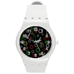 Colorful Xmas Pattern Round Plastic Sport Watch (m) by Valentinaart