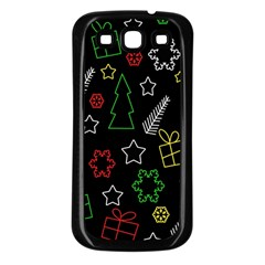 Colorful Xmas Pattern Samsung Galaxy S3 Back Case (black) by Valentinaart