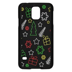 Colorful Xmas Pattern Samsung Galaxy S5 Case (black) by Valentinaart