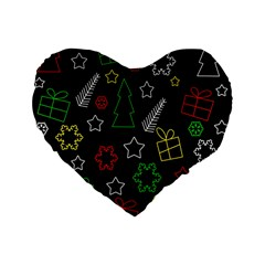 Colorful Xmas Pattern Standard 16  Premium Flano Heart Shape Cushions by Valentinaart