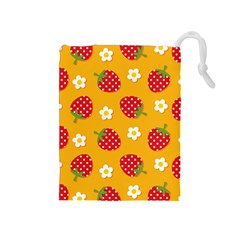 Strawberry Drawstring Pouches (medium)  by AnjaniArt