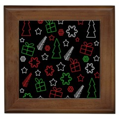 Green And  Red Xmas Pattern Framed Tiles