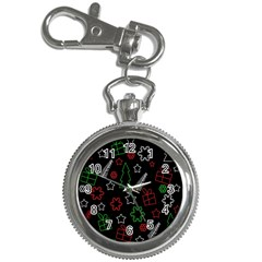 Green And  Red Xmas Pattern Key Chain Watches by Valentinaart