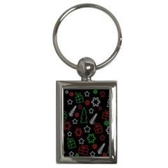 Green And  Red Xmas Pattern Key Chains (rectangle)  by Valentinaart