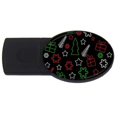 Green And  Red Xmas Pattern Usb Flash Drive Oval (2 Gb)