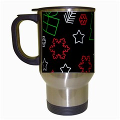 Green And  Red Xmas Pattern Travel Mugs (white) by Valentinaart