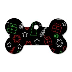 Green And  Red Xmas Pattern Dog Tag Bone (two Sides) by Valentinaart