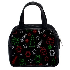 Green And  Red Xmas Pattern Classic Handbags (2 Sides) by Valentinaart