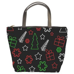 Green And  Red Xmas Pattern Bucket Bags by Valentinaart