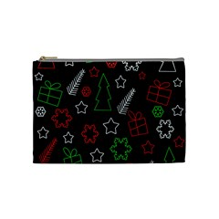 Green And  Red Xmas Pattern Cosmetic Bag (medium)  by Valentinaart