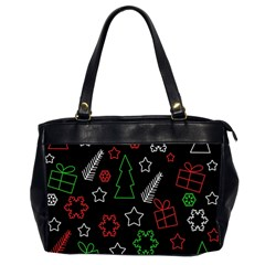 Green And  Red Xmas Pattern Office Handbags (2 Sides)  by Valentinaart