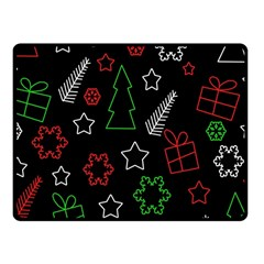Green And  Red Xmas Pattern Fleece Blanket (small) by Valentinaart