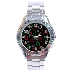 Green And  Red Xmas Pattern Stainless Steel Analogue Watch by Valentinaart