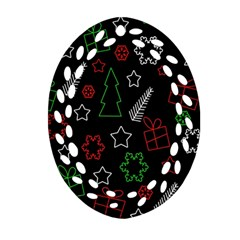 Green And  Red Xmas Pattern Oval Filigree Ornament (2 Side)  by Valentinaart