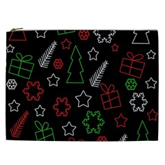 Green And  Red Xmas Pattern Cosmetic Bag (xxl)  by Valentinaart