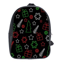 Green And  Red Xmas Pattern School Bags (xl)  by Valentinaart