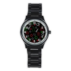 Green And  Red Xmas Pattern Stainless Steel Round Watch by Valentinaart