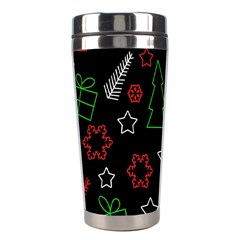 Green And  Red Xmas Pattern Stainless Steel Travel Tumblers by Valentinaart