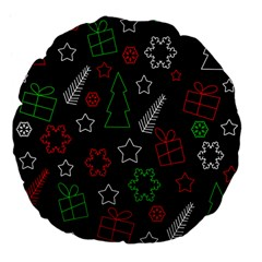 Green And  Red Xmas Pattern Large 18  Premium Flano Round Cushions by Valentinaart