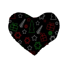 Green And  Red Xmas Pattern Standard 16  Premium Flano Heart Shape Cushions by Valentinaart