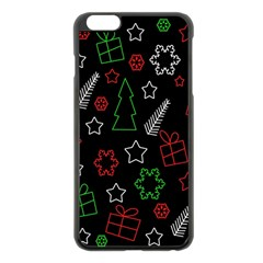 Green And  Red Xmas Pattern Apple Iphone 6 Plus/6s Plus Black Enamel Case by Valentinaart