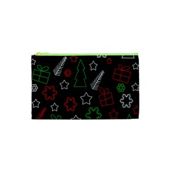 Green And  Red Xmas Pattern Cosmetic Bag (xs) by Valentinaart