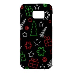 Green And  Red Xmas Pattern Samsung Galaxy S7 Edge Hardshell Case by Valentinaart