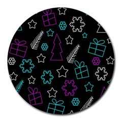 Creative Xmas Pattern Round Mousepads by Valentinaart