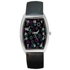 Creative Xmas Pattern Barrel Style Metal Watch by Valentinaart