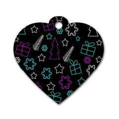 Creative Xmas Pattern Dog Tag Heart (one Side)
