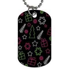 Elegant Xmas Pattern Dog Tag (two Sides) by Valentinaart